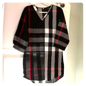 Burberry Like print top with belted waist